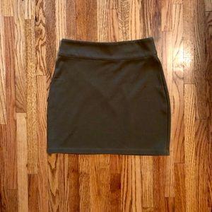 Army green body con mini skirt